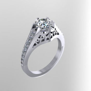 Edwardian Diamond Ring 14K White Gold with 7mm Round White Sapphire Ctr - V1056