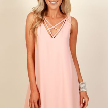 Float Away Lace Up Dress Blush