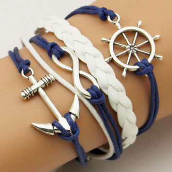 Men or Women's Braided Bracelet, some with Nautical charms