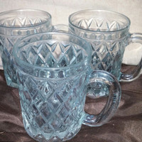 A Spectacular Set of Three Paul Sebastian French Crystal Criss Cross Diamond Pattern 12 oz Mugs
