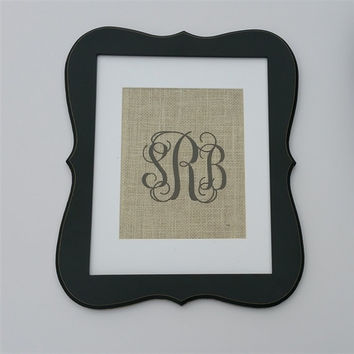 Vine Monogram Ornate Whimsical Frame, Black with Personalized Monogrammed Burlap Interlocking Vine Pattern