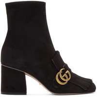 Black Suede GG Marmont Boots