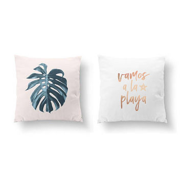 SET of 2 Pillows, Monstera Leaf, Bed Pillow, Flower Illustration, Throw Pillow, Cushion Cover, Vamos A La Playa, Beach Decor, Gold Pillow
