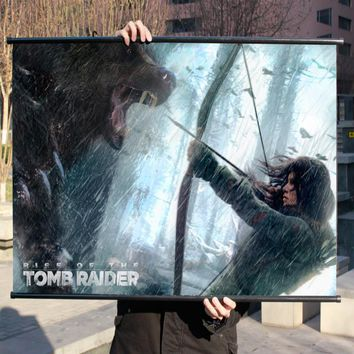 """Tomb Raider 10 Rise"" HD Game Movie Wall Scrolls Poster Bar Cafes  Home Decor Banners Hanging Art Waterproof Cloth Decorative 3"