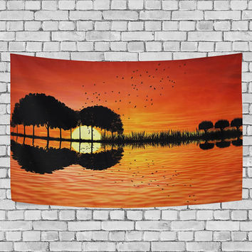 Shape of Guitar Trees Reflection on Water Nature Tapestry Wall Hanging Landscape Fancy Wall Decor Art Yellow