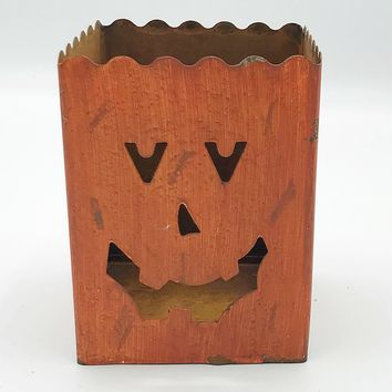 Square Jack O'lantern Tin Candle Holder