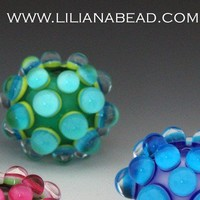 Aqua Teal on Yellow Berry Extraordinaire by lilianabead on Etsy