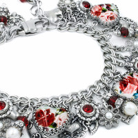 Red Rose Heart Bracelet
