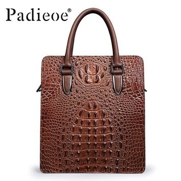 Padieoe Newly Designer Brand Business Casual Men's Briefcase High Quality Hot Selling Genuine Cow Leather Lines Briefcase