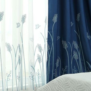 Floating Cotton Embroidery Curtain Blue Green Mint Curtains Cortinas For Living Room Floral Tulle Pastoral And Sheer Modern
