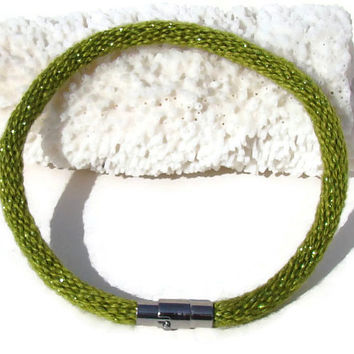 NEW-- Cozy Collection metallic green kumihimo bracelet with stainless steel magnetic clasp