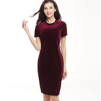 Suvance Velvet Sexy O Neck Short Sleeves Solid Color Pencil Mini Dress Fashion Spring Summer New Women Vestidos