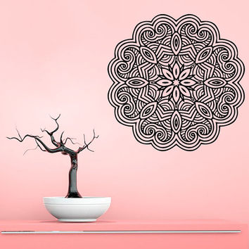 Mandala Wall Decal Ethnic Yoga Studio Stickers Yoga Vinyl Decals Flower Art Mural Home Decor Interior Design Bedroom Bohemian Decor KI25