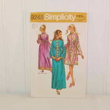 Vintage Simplicity 9248 Misses' Robe In Two Lengths (c. 1970) Misses' Size 12, Bust Size 34 Inches, Hostess Robe, Retro Styling, Long Robe