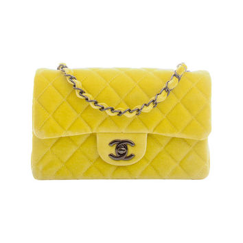 Chanel Yellow Velvet Velour Small Classic 2.55 Shoulder/Crossbody Flap Bag
