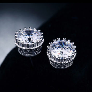 Sterling Silver Princess Crown Stud CZ Earrings