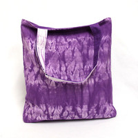 Violet Shibori Tote, Tie Dye Tote Bag, Canvas Book Bag, Market Bag, Hand Dyed Tote Bag, Violet Shopping Bag, Cotton Canvas Tote, Violet Tote