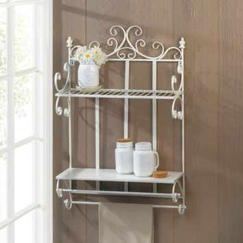 Romantic Country White Iron 2 Tier Wall Shelf