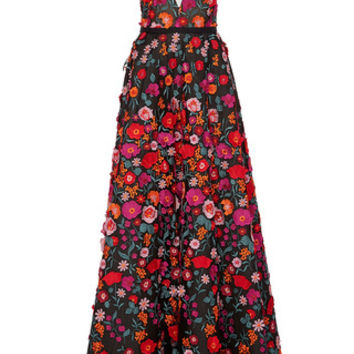 Embroidered Plunging V-Neck Gown | Moda Operandi