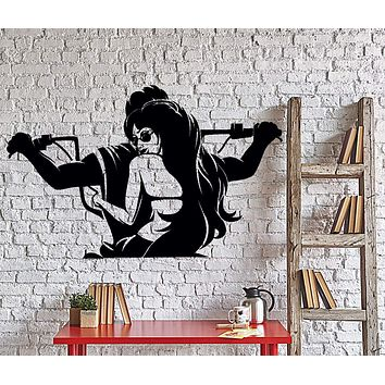 Wall Vinyl Decal Biker And Hot Sexy Girl Riding Bike Cool Home Interior Decor Unique Gift z4346