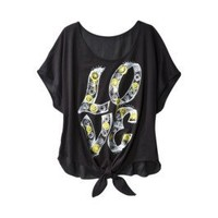 Product: License Juniors Love Tie Front Graphic Tee - Black