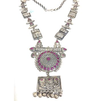 Silver look alike designer long chain oxidized necklace