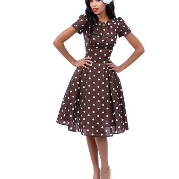 Brown & White Polka Dot Madden Swing Dress - Unique Vintage - Prom dresses, retro dresses, retro swimsuits.