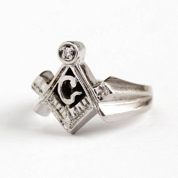 Vintage Mason Ring - 10k White Gold & Genuine Diamond Signet - Men's Size 6 Freemason Masonic Letter G Square Compass Heavy Fine Jewelry