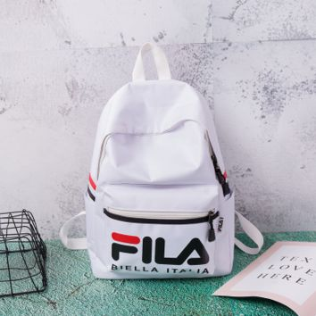 White FILA Woman Men Fashion Backpack School Bag Bookbag Daypack Travel Bag
