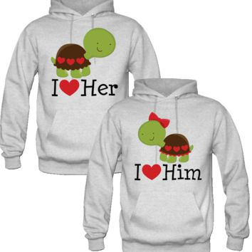 I LOVE HER I LOVE HIM TURTLE DESIGN COUPLE LOVE HOODIES
