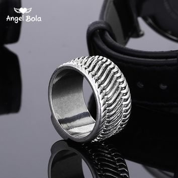 Ancient Silver Fashion Tire Pattern Men's Buddha Chain Link Finger Ring Jewelry To Women Gifts Punk Biker Wide Chain Ring