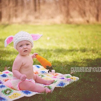Photography Prop Crochet Bunny Hat With Tail Diaper Cover and Carrot/Bunny Set Costume/Rabbit Hat With Matching Diaper Cover and Carrot