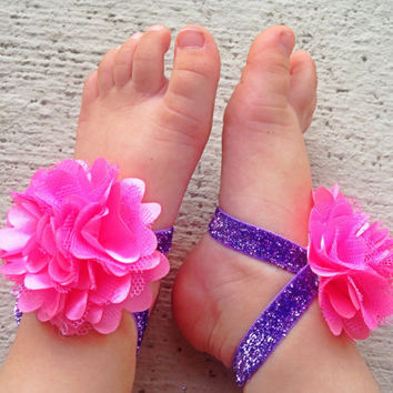 Pink and Purple Baby Barefoot Sandals - Piggy Petals and Headband - Toe Blooms - Flower Sandals - Baby Shower Gift - Baby Girl Shoes