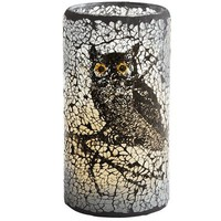 Owl Crackle Glass LED Candle