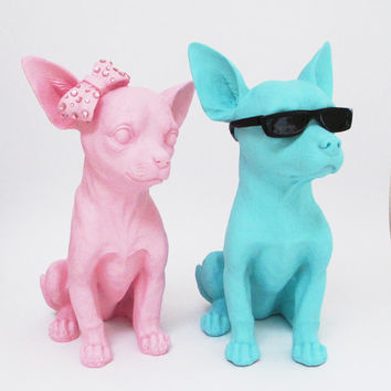 Chihuahua, Life Size Dog Sculpture, Canine Decor, Blue Dog, Chihuahua Figurine, Nursery Decor, Child's Bedroom, Hodi Home Decor