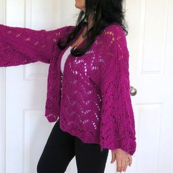 Purple Hand Knit Angora Cardigan Sweater, Plus Size Angora Sweater Shrug