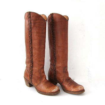 vVntage FRYE boots. tall cowgirl boots. Braided Frye boots. Worn in heeled cowboy boots.