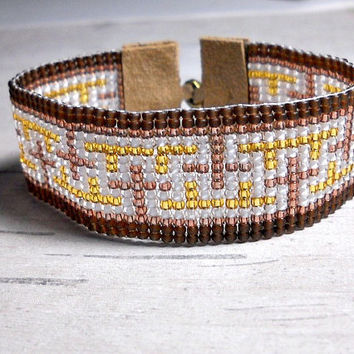 Brown Bead Loom Bracelet, Bead Bracelet, Brown Crosses Bracelet
