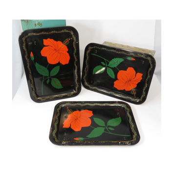 Metal TV Trays Hibiscus Flower on Black (3) Vintage