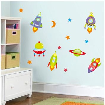 3d cartoon wall stickers for kid room diy home decoration zooyoo1302B childhood memory plane spaceship rocket 3g wall decals