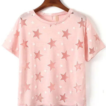 Pink Mesh Star Print Short Sleeve T-shirt