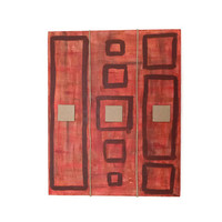 abstract wall art, red and brown acrylic painting on canvas, original mixed media art, geometric painting, 20 x 30 cm (7,9 x 11,8 inches)