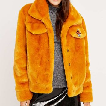 American Retro Rosy Mustard Faux Fur Jacket - Urban Outfitters