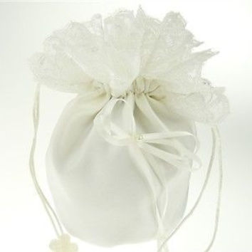 Wedding Bridal Shower Money Pouch Bag, 8-inch, Bow & Lace, Ivory, CLOSEOUT