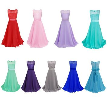 8 Color Summer Sleeveless Girls Flower Lace Dress Party Wedding Clothes Bridesmaid Floral Girl Dress Ball Gown Prom Formal Dress