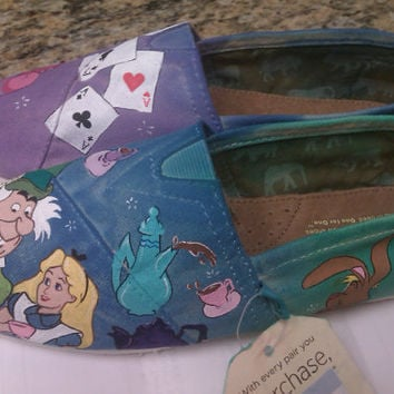 Alice in Wonderland-Tea Party hand painted TOMS