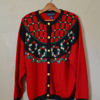 Vintage Sweater Cardigan Sweater Christmas Sweater Ugly Christmas Sweater Holiday Sweater  Christmas Size 3X Plus Size