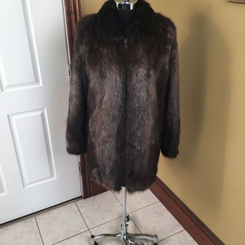 BEAUTIFUL BROWN LONG HAIRED NATURAL BEAVER FUR COAT JACKET STROLLER SIZE LARGE