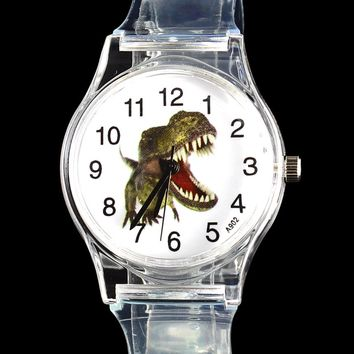 Dinosaur Tyrannosaurus Cartoon Watch Children Kids Transparent Skull Skeleton Jurassic Park Collection Dino Quartz Wrist Watches