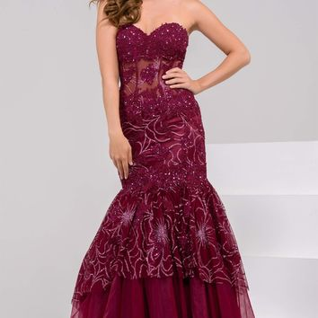 Jovani 34008 Strapless Embellished Mermaid Evening Dress